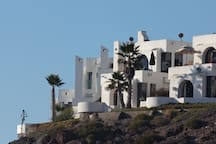 Our Villa's are like castles on a bluff overlooking the ocean. Exterior picture taken from the hiking trail that goes to the beach. These villa's were designed by a famous Mexican Architect (Son of Jose Orozco).