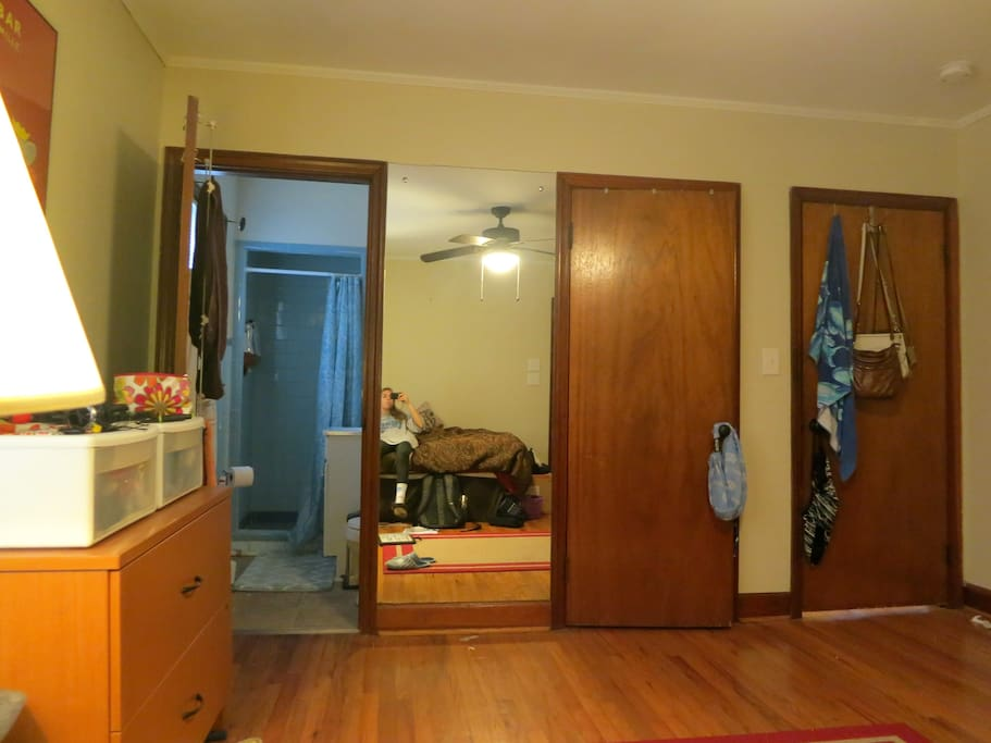 Full-length mirror and personal bathroom in room