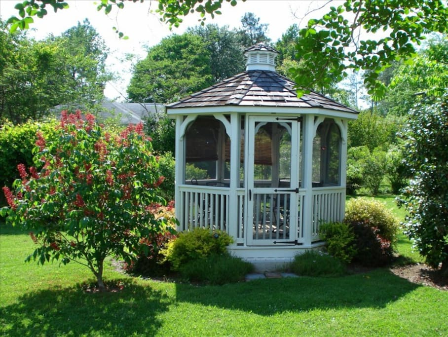 After touring, relax in screened gazebo