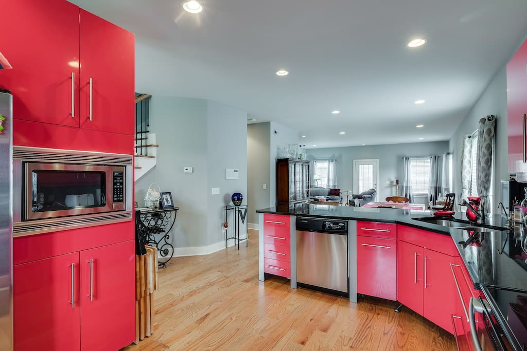 Spacious and modern kitchen with many amenities.