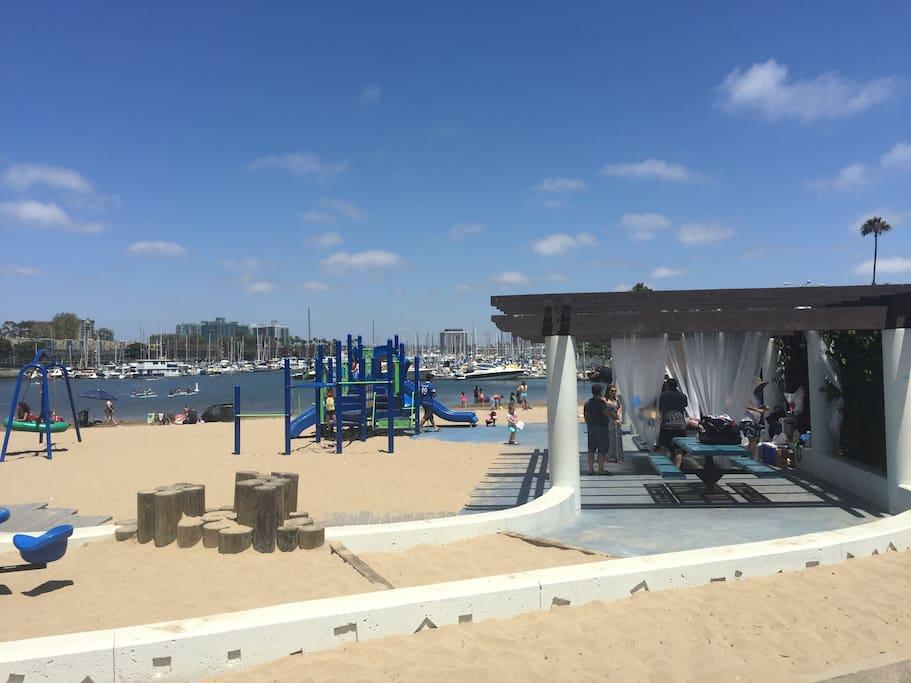 Beach/playground area 5 min walk from boat