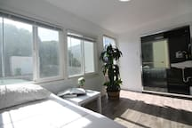 Bright and airy room. Private bath. Provided with a pull out bed. Sleeps 2.