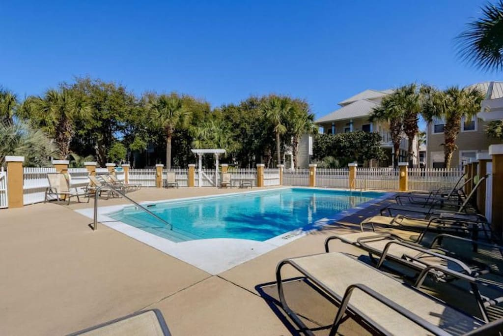 Relax by the seasonally heated community pool with your loved ones.
