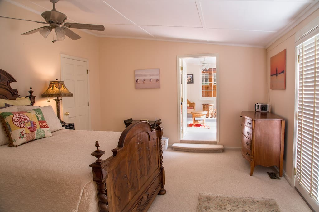Master Bedroom with French Doors to outside patio area and view of the Magothy River