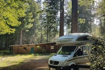 You can drive directly in, park amongst the redwoods and crack open a beer. The circular drive makes entrance and departure easy. There are three campsites that are private from each other where you can either setup your tent or park your RV.