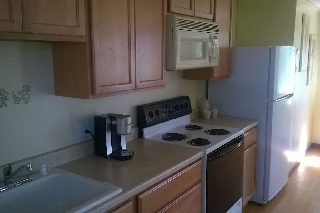 Brand new birch cabinets bring this kitchen to the center of attention.