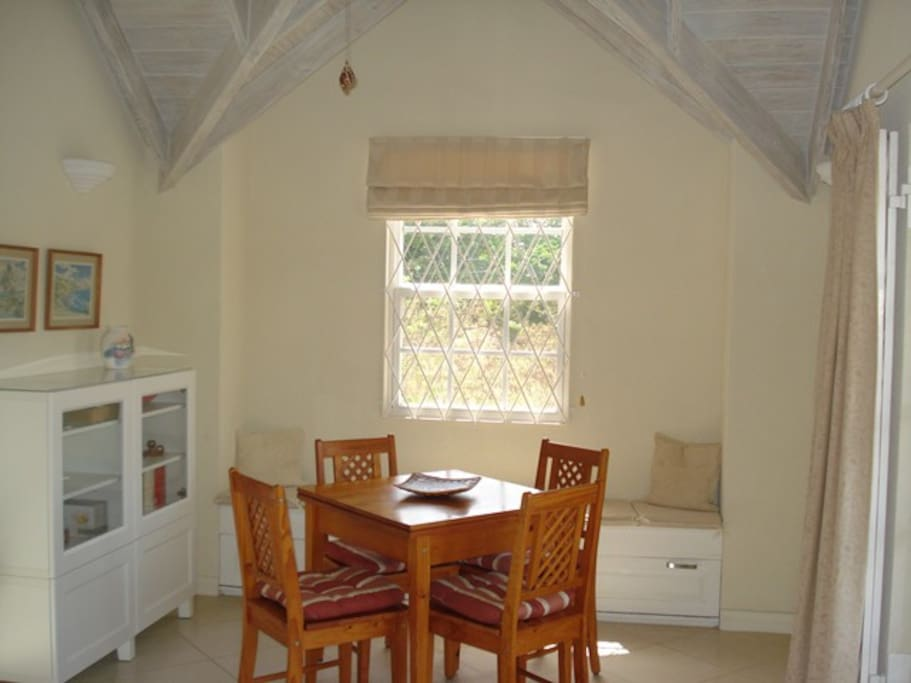This shows the dining area.  The table can be extended and the window bench used as additional seating.