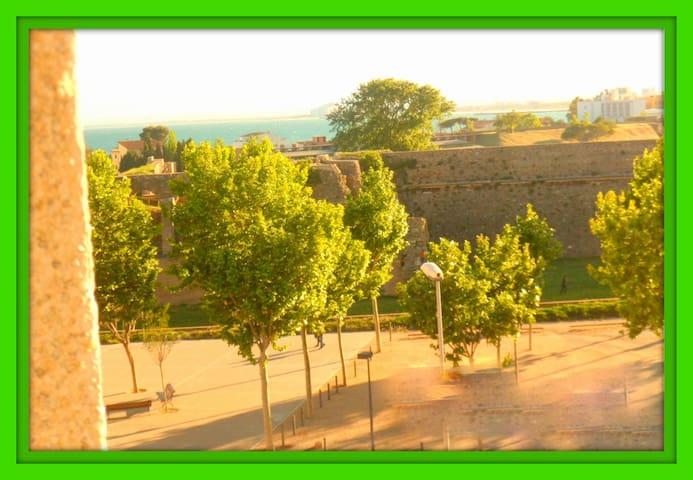 Vistas a la Ciutadela...Monumento Griego Romano...Parking Gratuito enfrente la ventana del salón. Desde aquí  podrás ver su coche.