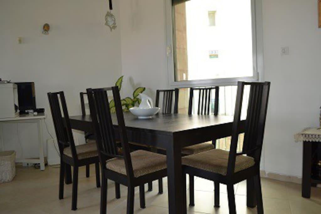 Dining room in open area.