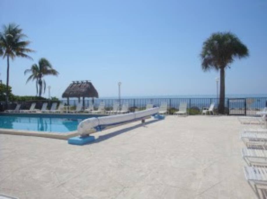 Heated pool overlooks the beach and ocean.