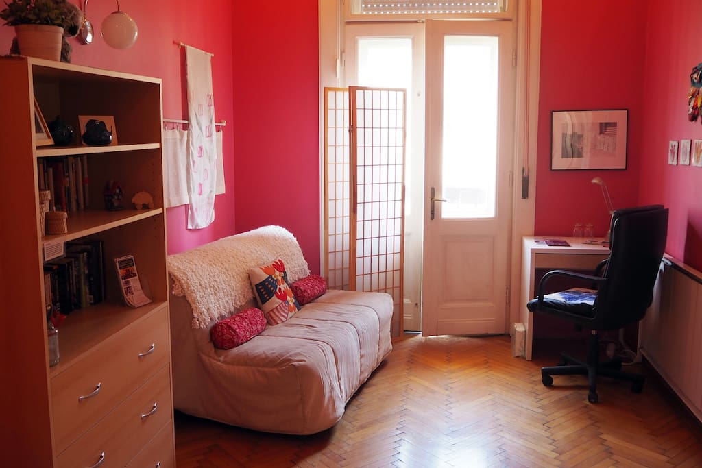 Pink Room sleeps up to 3 people with a double sofa bed