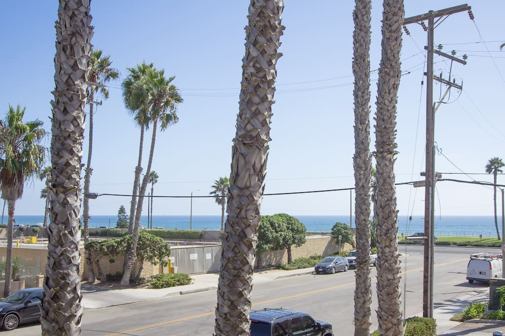 The view from the balcony, we are half a block in from the beach and a mile from downtown Main Street/the HB Pier.