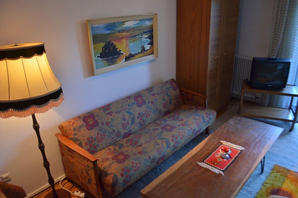 Wohnzimmer mit Sofa und Schlafmöglichkeit