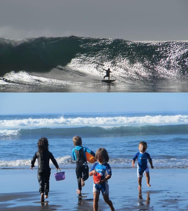 At Point Break, while big kids play among the waves, wanna be surfers play on the beach (same day shots, 02/12)