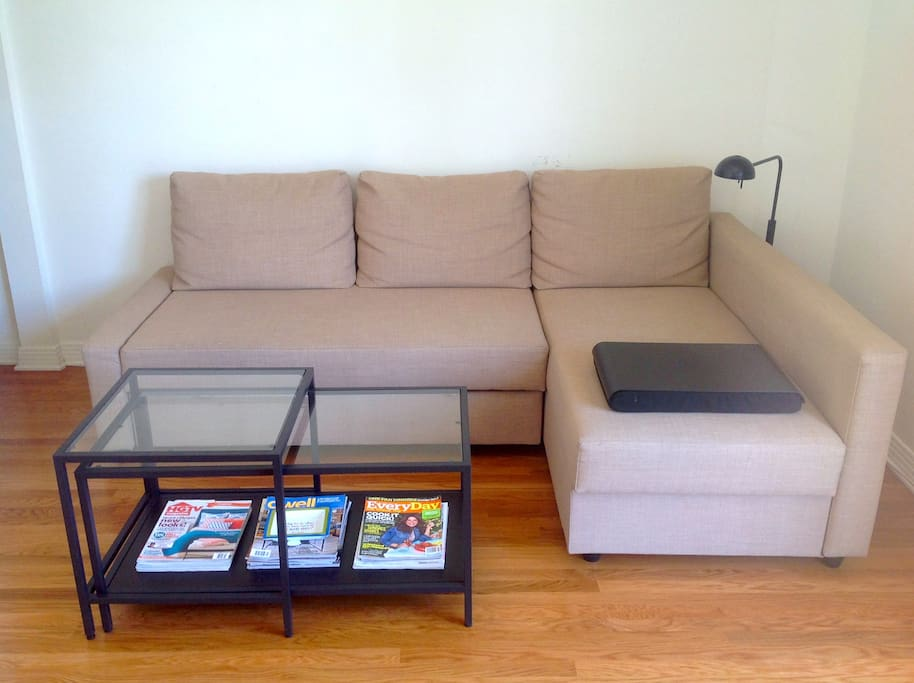 This is the sofa bed in the living room. It's firm, but comfortable, and beyond easy to open and close! Sleep a couple of extra people, or put your feet up after a long day of elbow rubbing with the rich and famous.