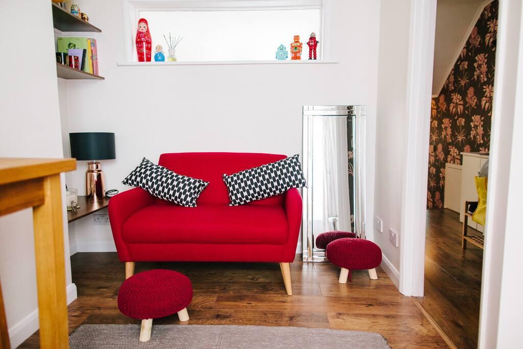 Small sofa and foot stools
