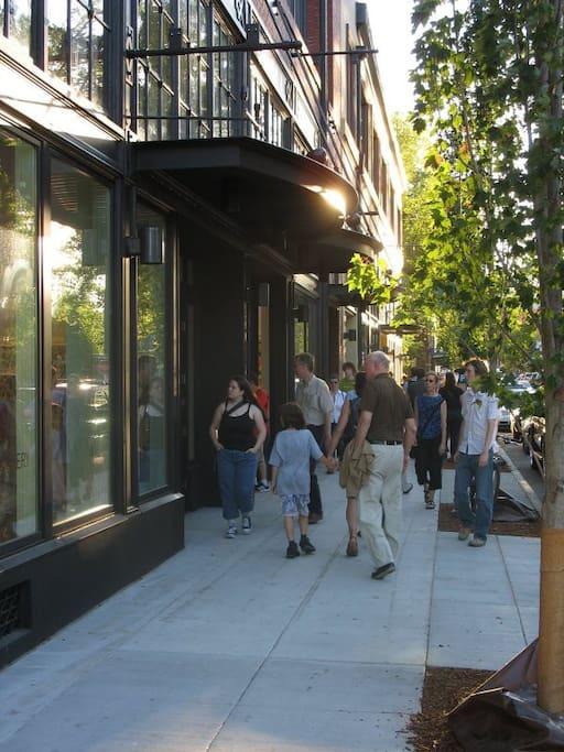 Vibrant neighborhood with art galleries + restaurants