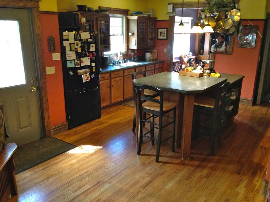 Spacious kitchen, built-in stovetop/ range in island.  Island seats 4.