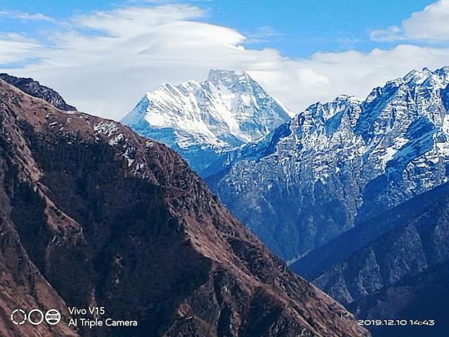 Authentic  view  of Nanda devi  and our local food