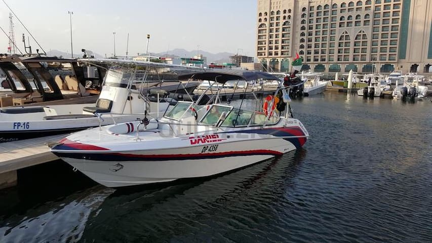 Our lovely boat  this photo taken in Fujairah now is in marina bander rawdha in muscat