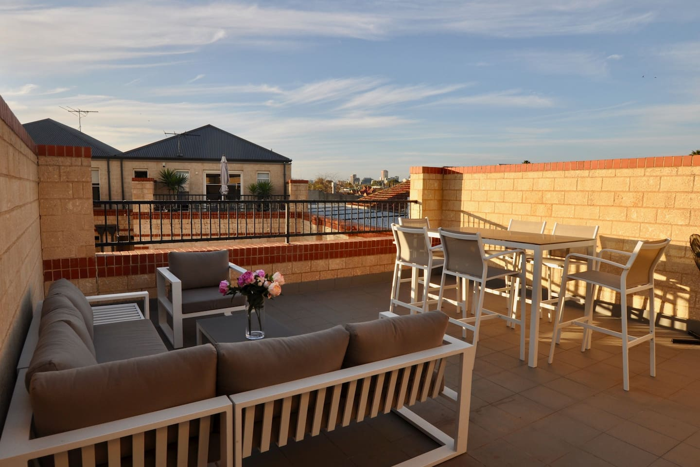 Your terrace has a seating and bar area so that you can relax and enjoy a beverage or cook on the electric BBQ. The city view is good by day and even better at night!
