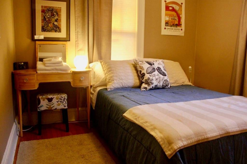 The smaller guest room sleeps 2 in this full size bed with memory foam mattress topper. Extra blankets are provided for your comfort. Bedside tables store with amenities and books.