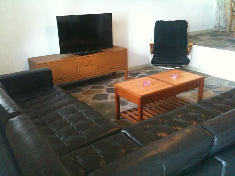 Comfortable leather sofa can easily sleep an extra person.