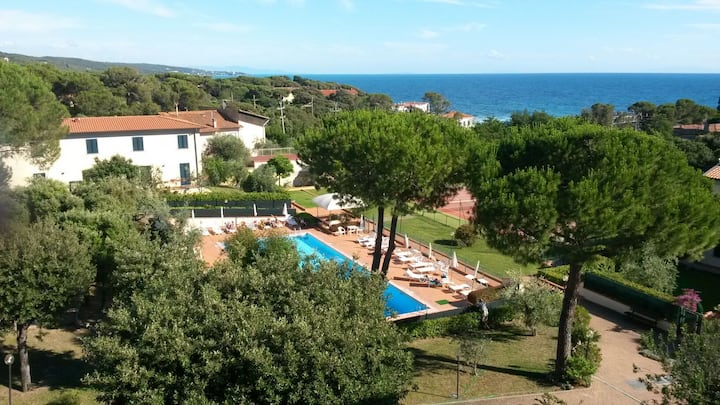 Apartment with swimming pool, 50 mt to the sea