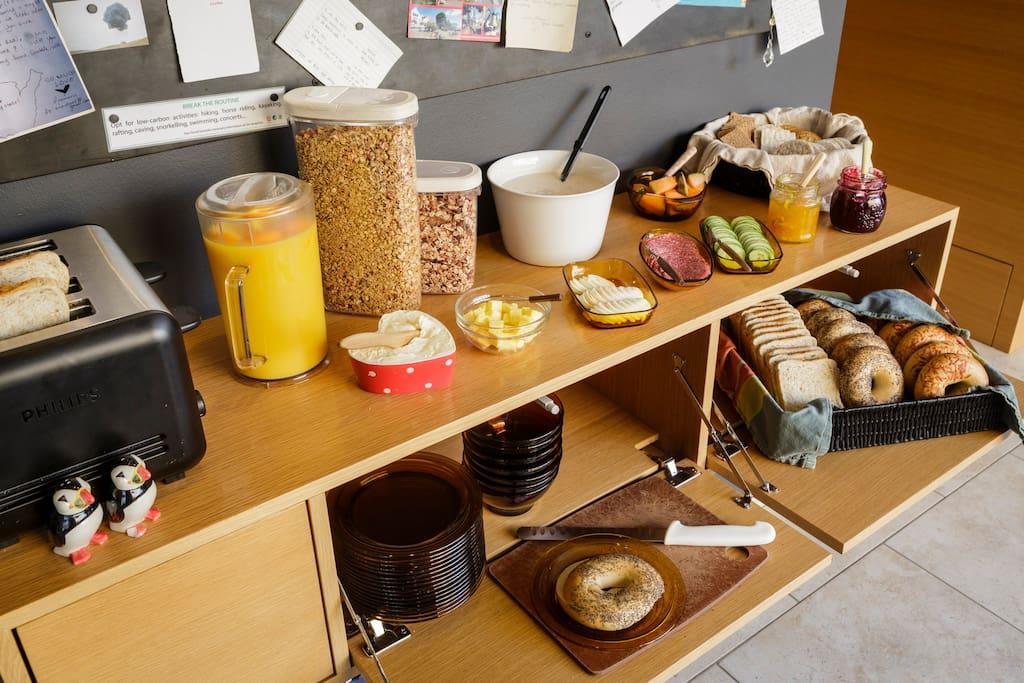 We offer breakfast between 7 - 10 and cost 1.550 ISK.