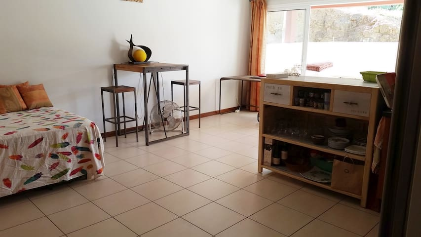 Studio + terrasse calme, spacieux et pratique