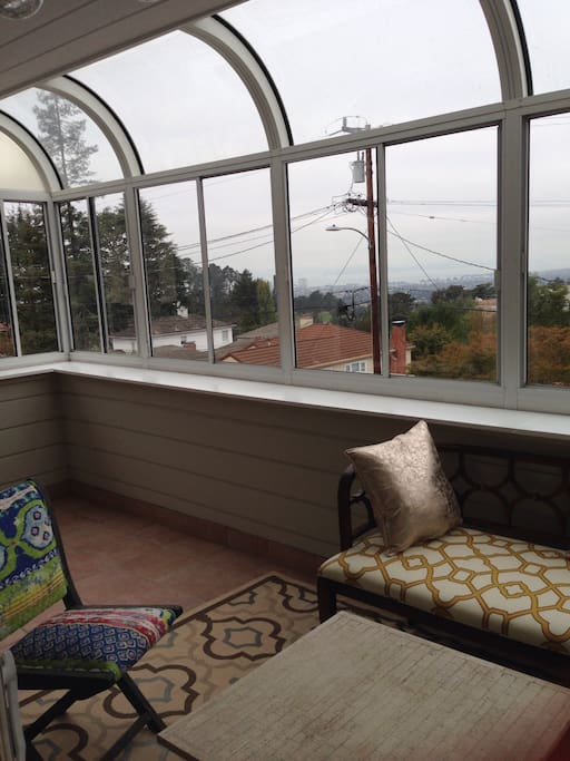 Sunroom and views of the bay