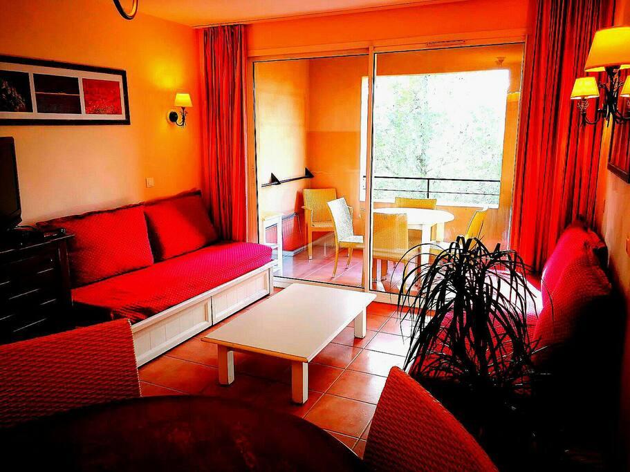 salon : composé à gauche d'un canapé convertible en 1 lit simple et à droite d'un canapé convertible en 2 lits simples,+ TV 82 cm,xbox