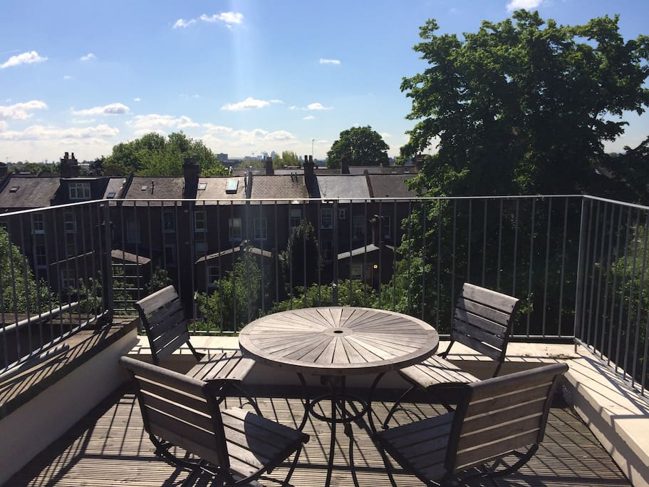 Private roof terrace with views over London