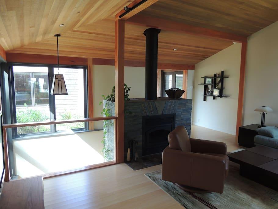 Living Room Pavilion with bamboo, cedar and slate