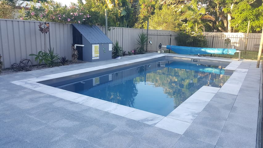 The 8m pool has a safety edge around the perimeter for the little ones