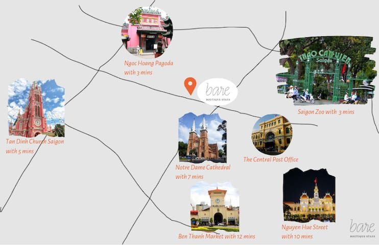 You can walk to reach Saigon Zoo and easily go to famous spots by bike, taxi or Grab with a few mins