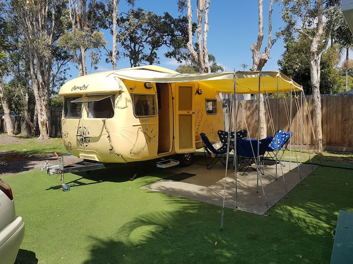 Voyager vintage caravan family glamping