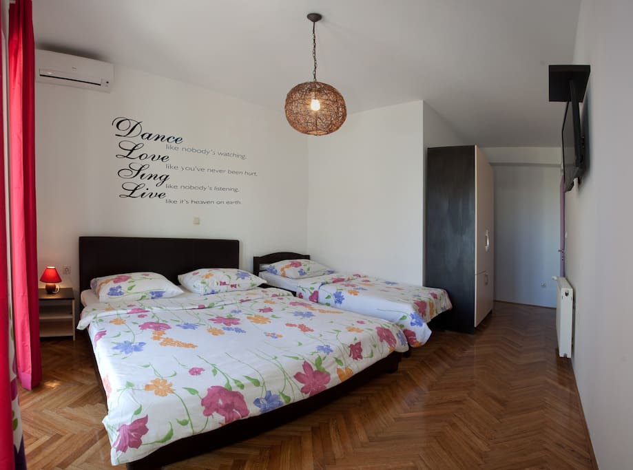 Triple room has king size and single bed