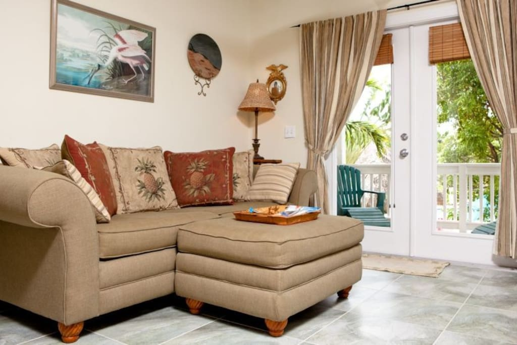 Living room seating area at Tortuga Hammock Key West