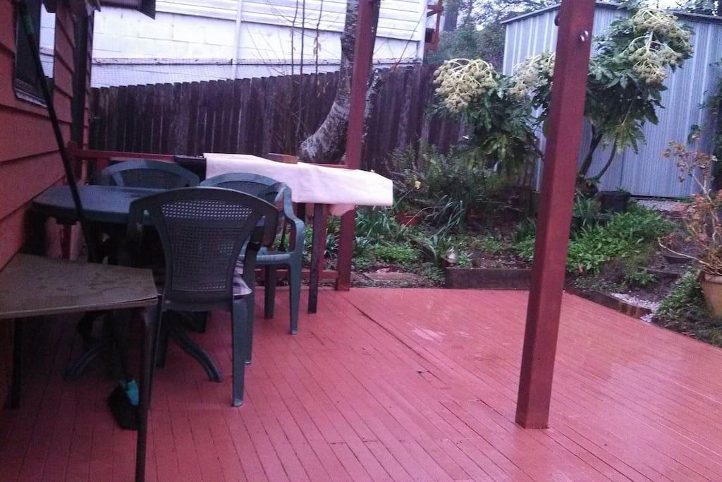Back verandah and BBQ.