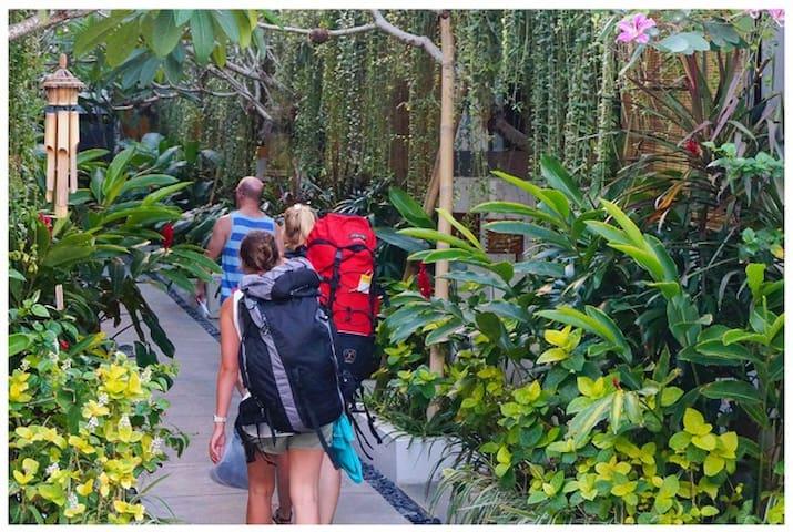 corridor with green garden