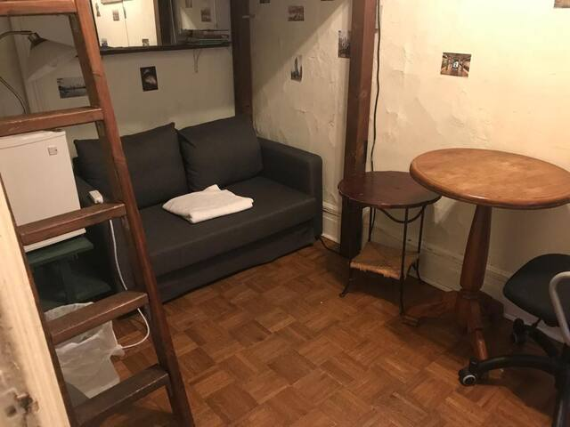 Love seat sofa bed under loft bed. End table and work table and chair.