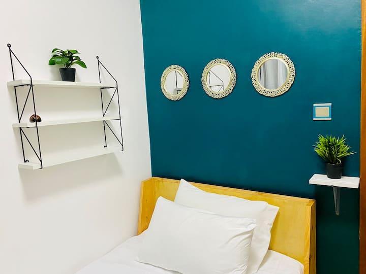 The tiny cozy room.