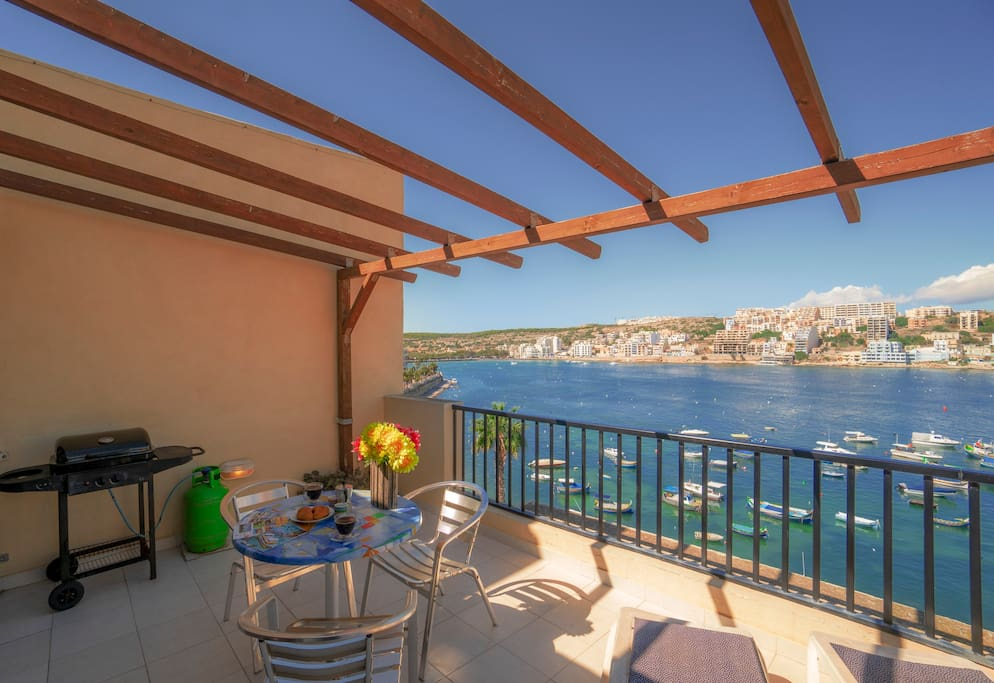 Large seafront terrace with spectacular views with garden furniture and bbq.