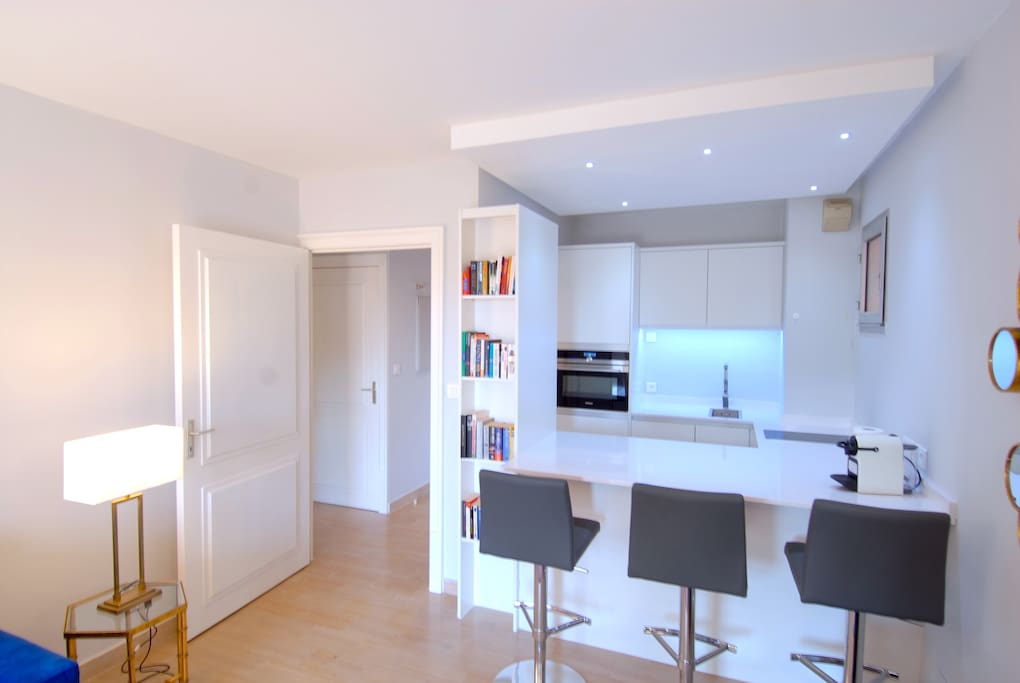 Open planned kitchen into living room