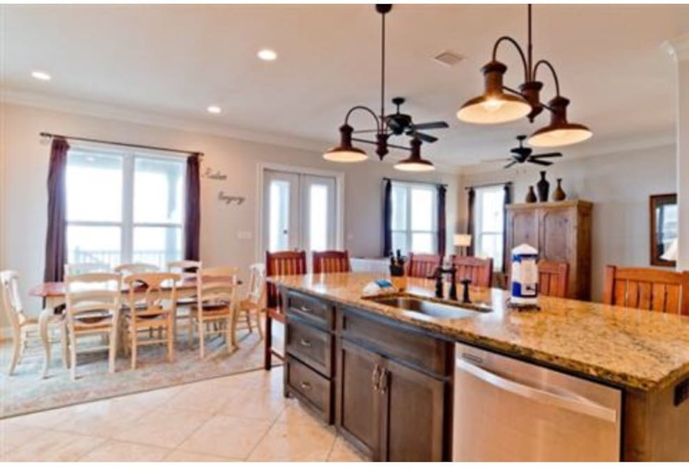 The kitchen is open with to the living area with beautiful gulf views.