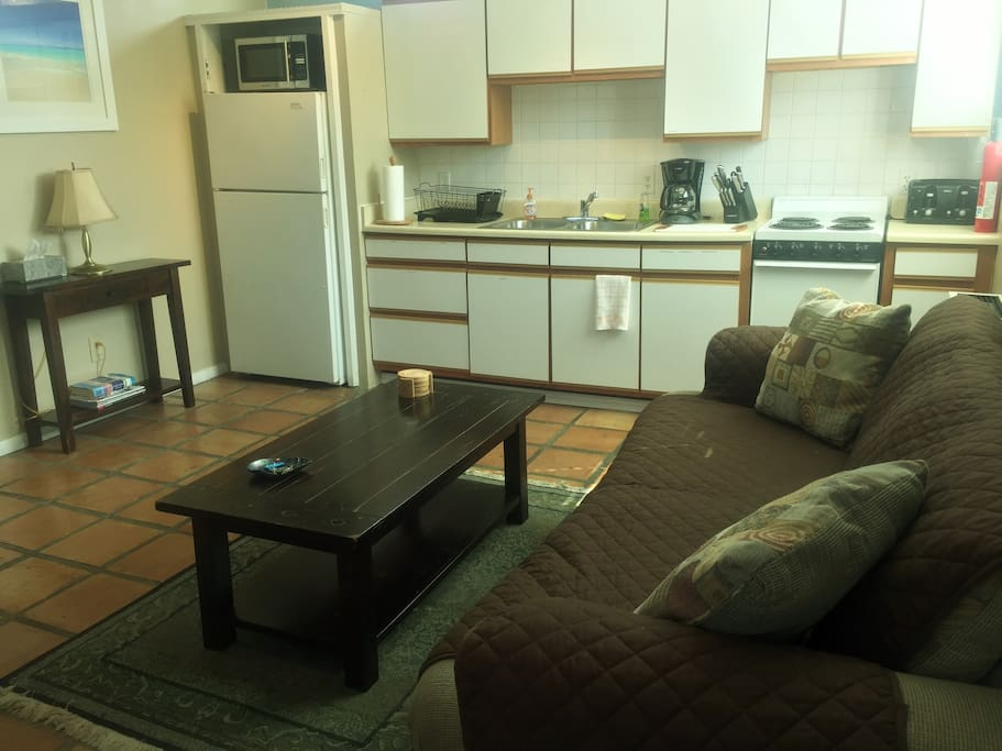 Pic of living room with kitchen and pull out sofa. All tile floors perfect for pets.