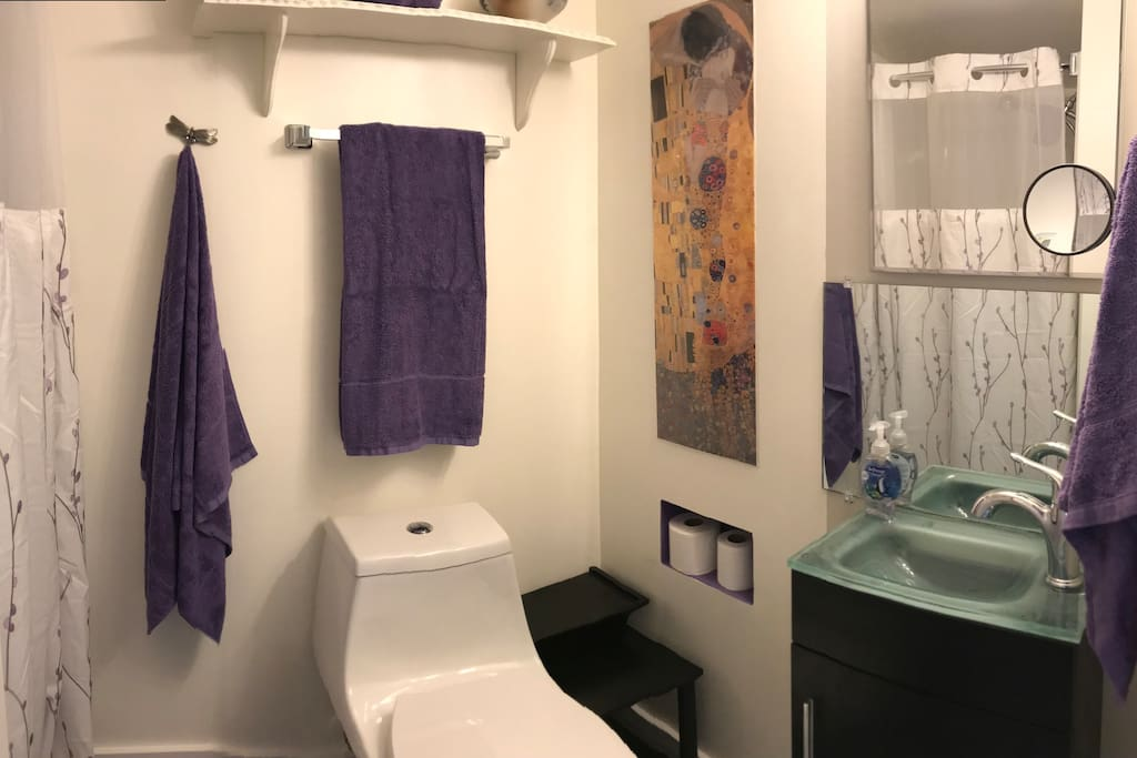 "Private Bath ... 36"" shower, chair height toilet, and wall mounted sink vanity."