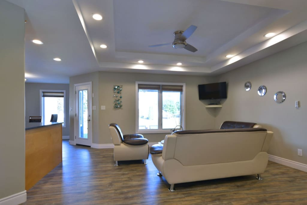 "Main living area with 44"" HDTV, DVD Blue Ray player"
