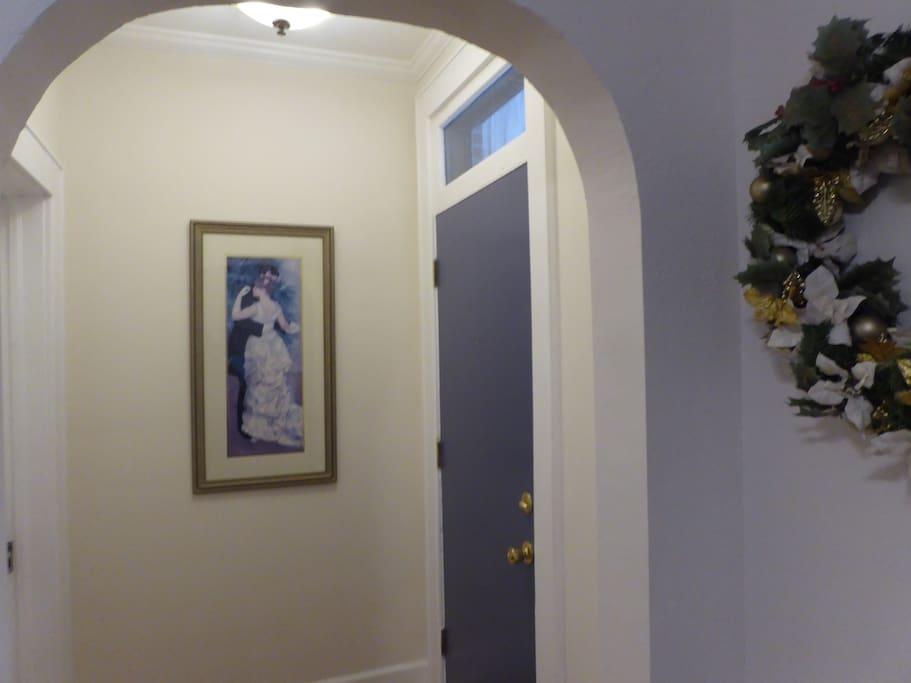 Entryway with front door.